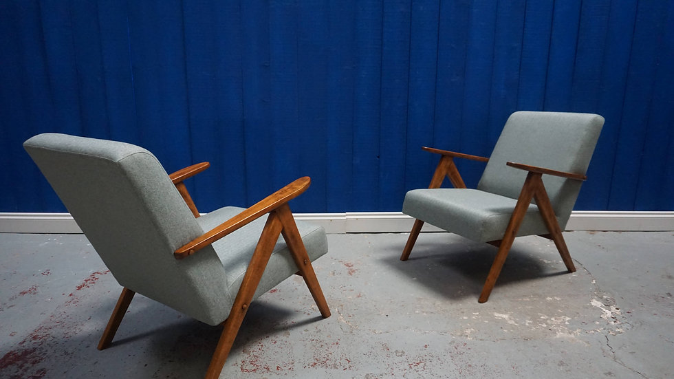 Mid Century Modern Armchairs from 1960's in Grey Tweed , 1 of 2