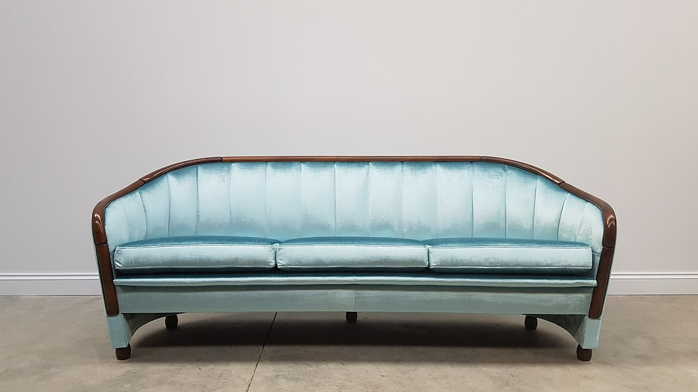 Art Deco 3 Seat Sofa from the 60's, in exquisite Blue Velvet Mid Century quirky Hollywood regency