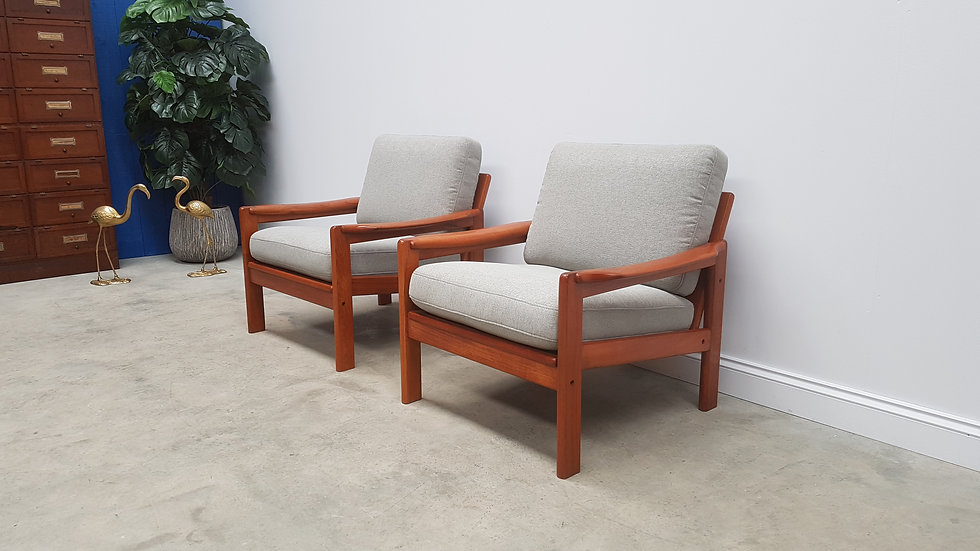 Pair of 1960 Norwegian Armchairs, Solid Teak, Light Grey Upholstery
