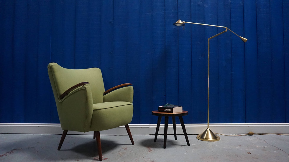 Mid Century Shell Chair in Green, from 1960's Vintage Design Danish Modern