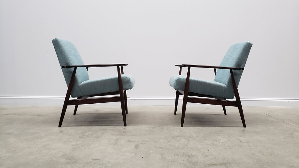 1960 Henryk Lis Mid Century Armchairs in Light Turquoise, 1 of 2