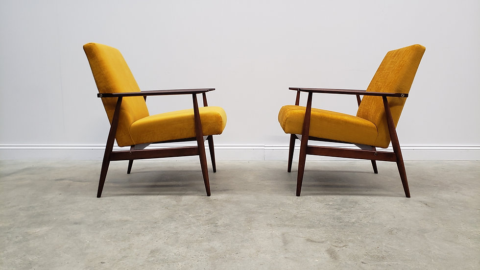 1960 Henryk Lis Mid Century Armchairs in Golden Velvet, 1 of 2