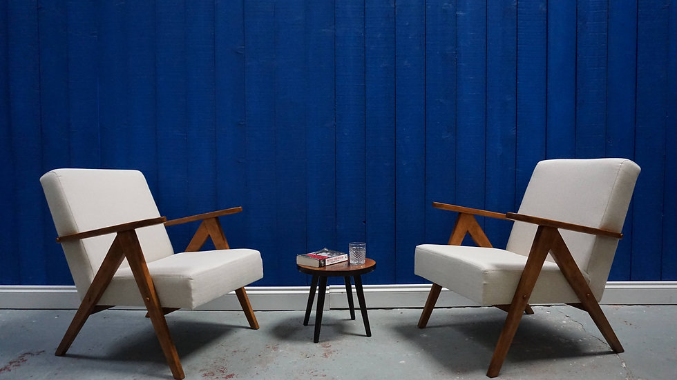 Mid Century Modern Easy Chairs from 1960's in Tweed, Set of 2