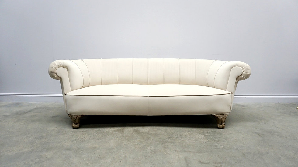 19th Century French Curved Sofa in Ivory Soft Velvet