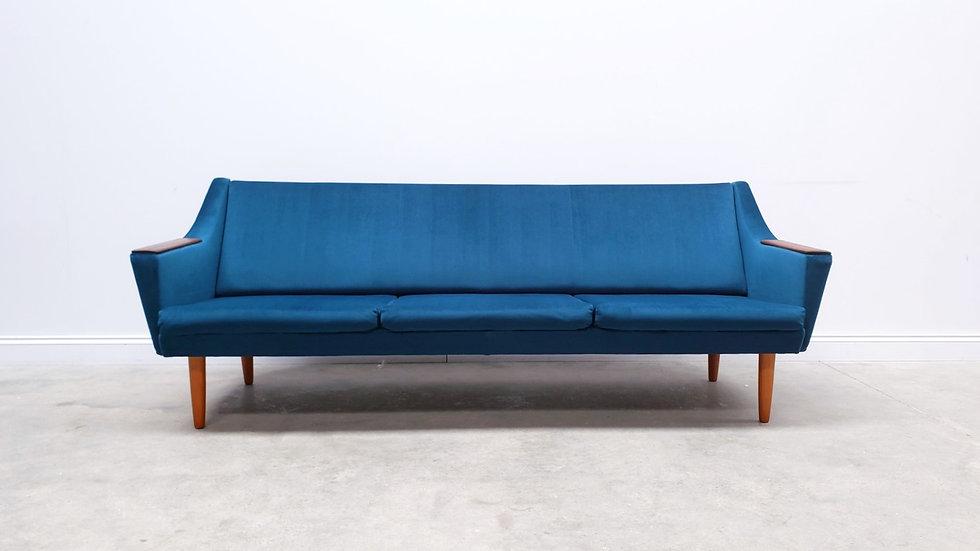 1960 Mid Century Danish Teak Sofa Bed in Turquoise Velvet