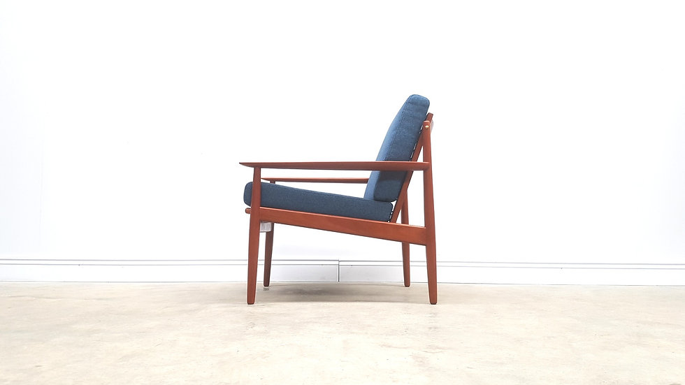 1950 Mid Century Danish Teak Easy Chair By Arne Vodder For Glostrup, Blue Tweed