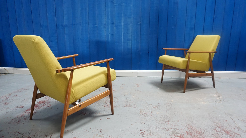 Mid Century Modern Lounge Chairs in Green Apple, from 1960's, Set of 2