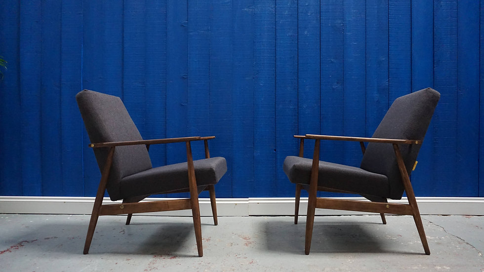 H. Lis Mid Century Armchairs in Dark Grey from 1970's, Set of 2