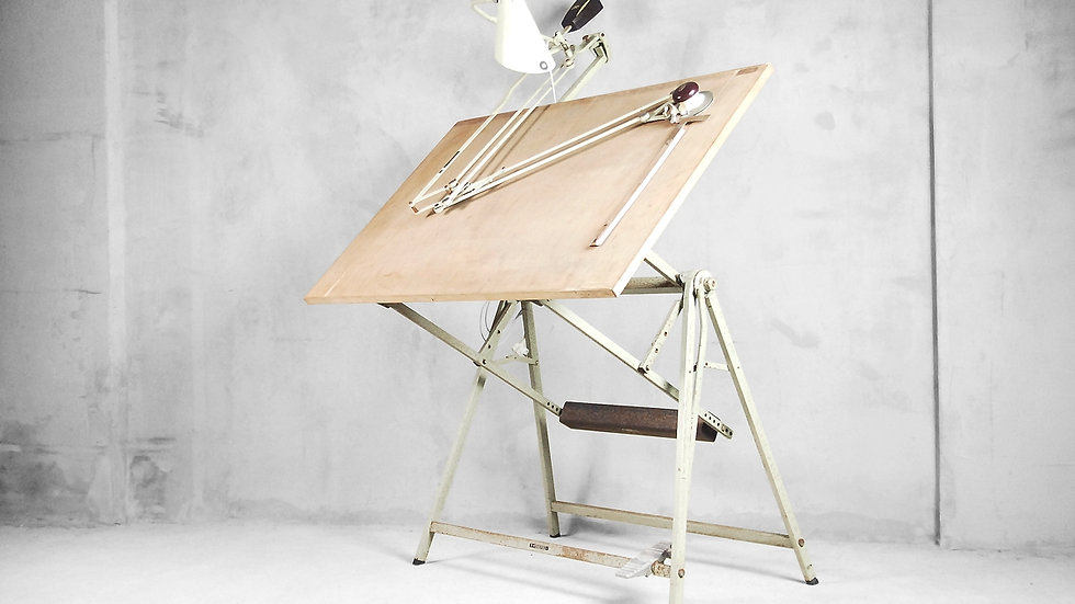Industrial Dutch Drawing Table with Lamp, Scale Arm and Drafting Machine from Rotanex-Pool, 1950s