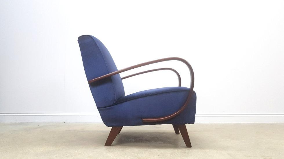 1930 Jindrich Halabala Bentwood Armchair for Thonet in Navy Blue Luxury Velvet