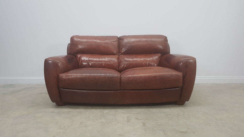 Vintage Two Seat Brown Leather Sofa Couch
