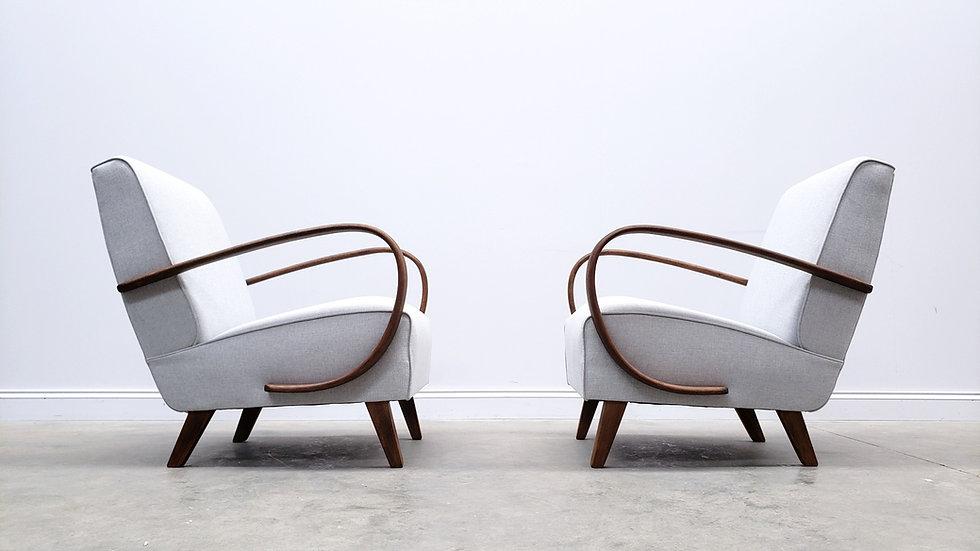 ONE Left - Jindrich Halabala Bentwood Armchair in Light Grey