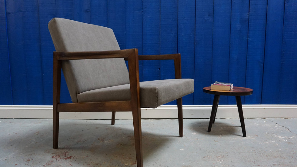 Mid Century Danish Chair in Grey, 1960's Vintage Furniture