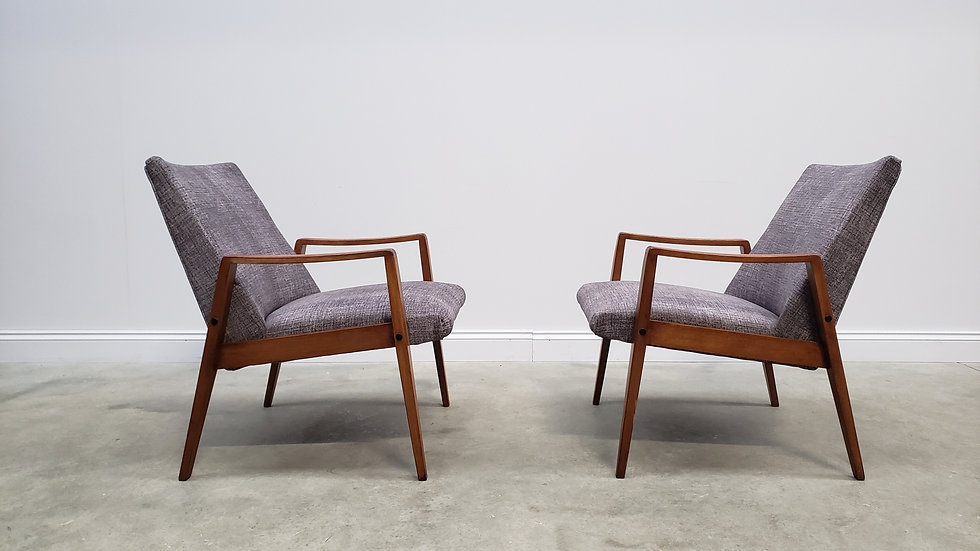 Mid Century Easy Chairs in Black Textile, 1960, 1 of 2