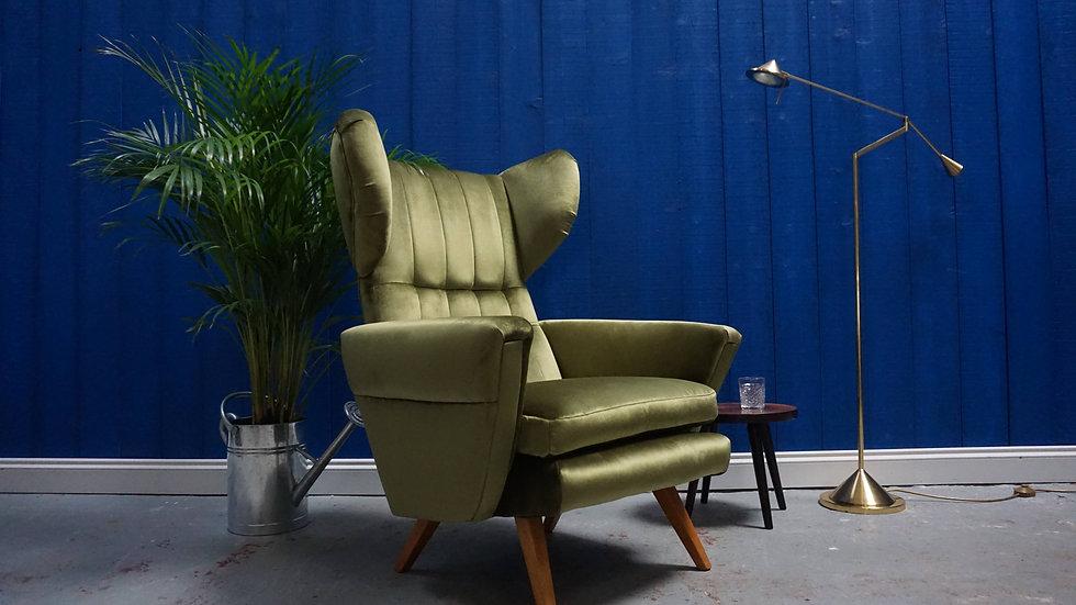 Large Mid Century Modern Lounger Armchairs in Pickle Green Velvet