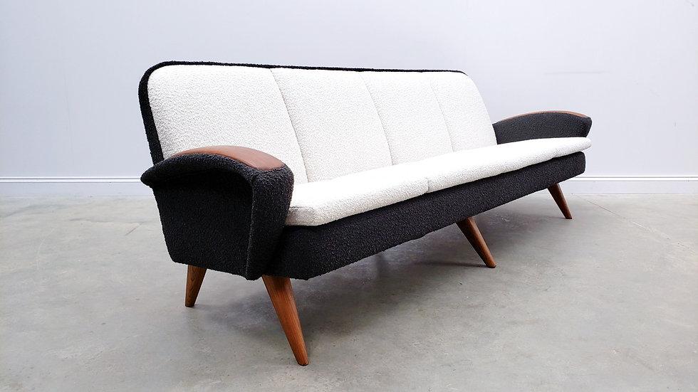 Mid Century Danish Teak Sofa in Black and White Premium Boucle, 1960
