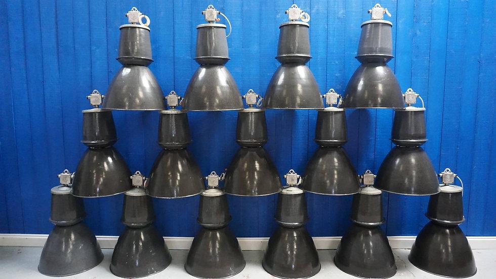 Vintage Large Czech Industrial Pendant Enamel Lamps from 1960s Factory Design Pub Restaurant Cafe Hotel