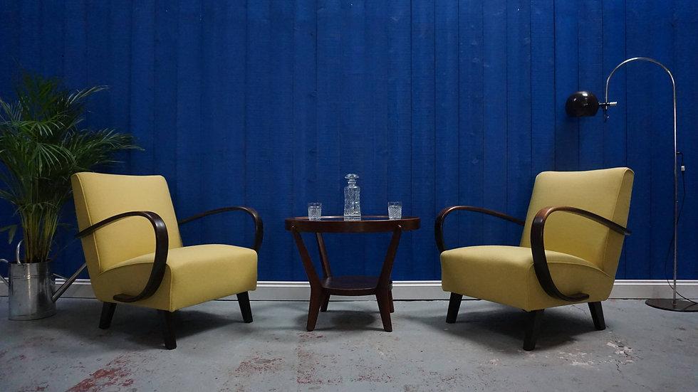 Jindrich Halabala Bentwood Armchairs in Mild Yellow, Thonet 1930, Set of