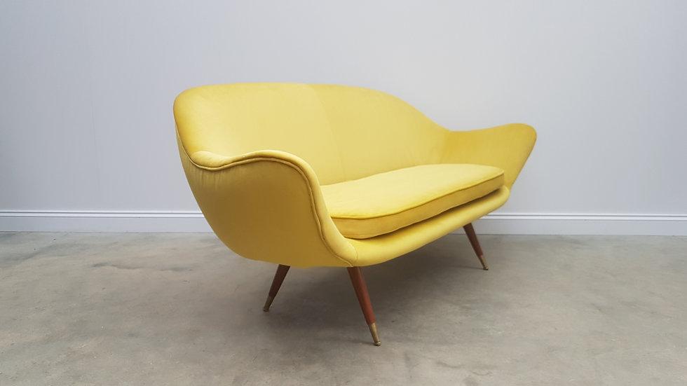 1960 Danish Designer Three Seat Curved Sofa Couch in Luxury Golden Velvet