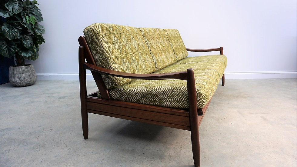Mid Century Danish 3 Seat Sofa from the 60's, in Green Wool