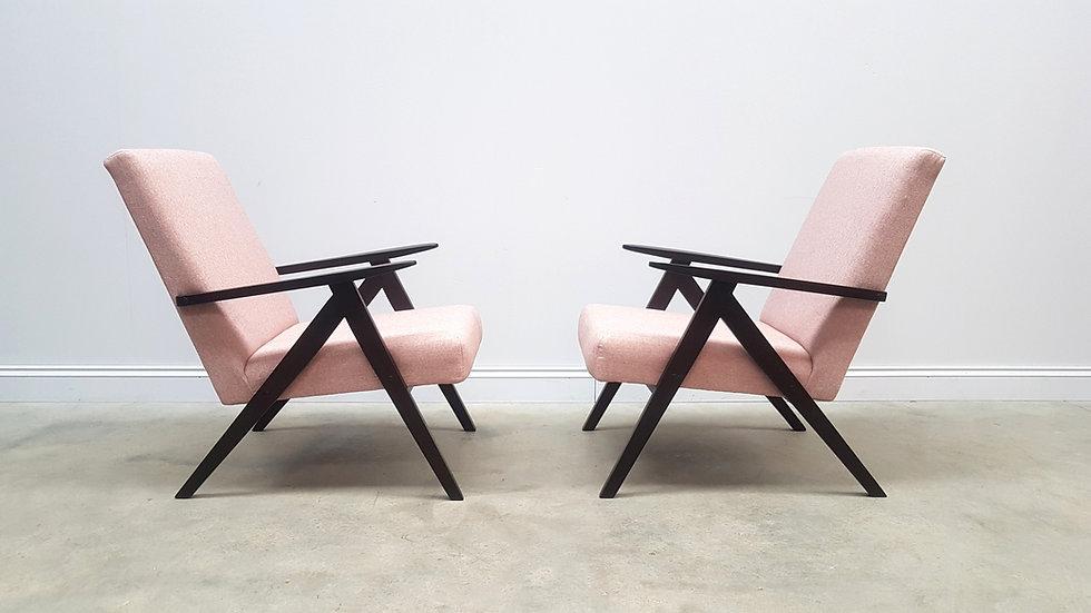 1960 Mid Century Easy Chairs Model B - 310 Var in Light Pink Tweed, 1 of 2