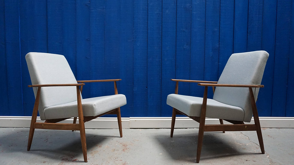 H. Lis Mid Century Armchairs from 1970's, Light Blue/Grey, 1 of 2