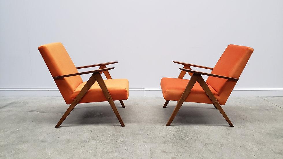 1960 Mid Century Easy Chairs Model B - 310 Var in Rusty Orange