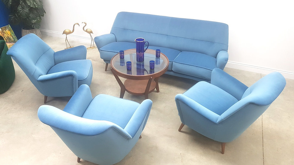Set of Mid Century Danish Sofa Armchairs in Blue Luxury Velvet, 1950