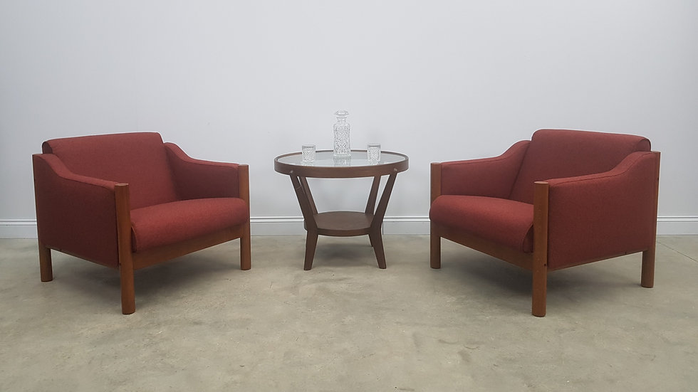 Mid Century Danish Armchairs in Burgundy Wool and Teak Wood, Set of 2