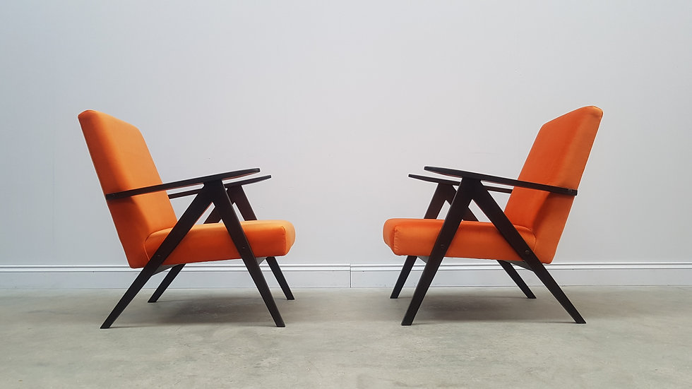 1960 Mid Century Easy Chairs Model B - 310 Var in Dirty Orange 1 of 2