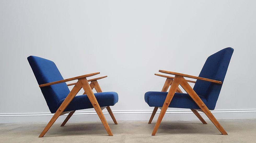 Pair of Mid Century Easy Chairs Model B 310 Var in Blue Velvet, 1960