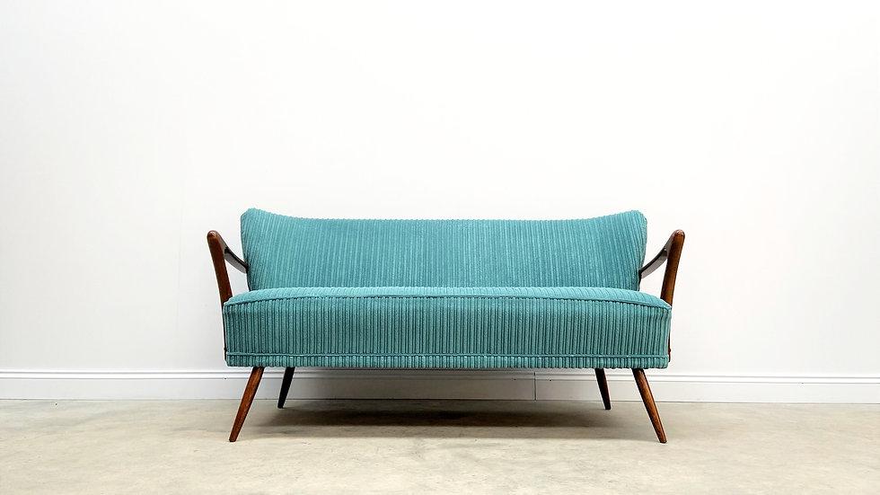 Mid Century 2 Seat Cocktail Sofa in Turquoise Corduroy, 1960's