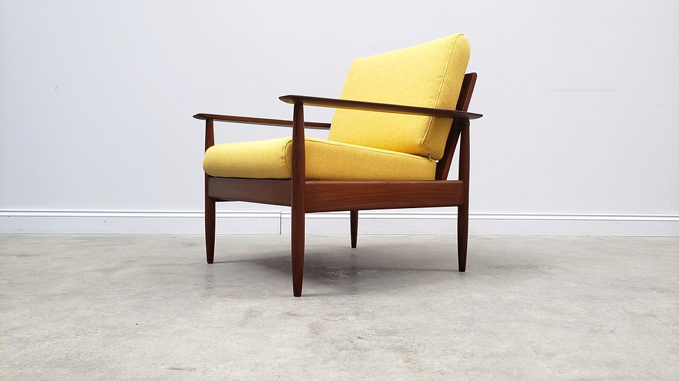 1960's Danish Lounger, Club Chair in Yellow Upholstery