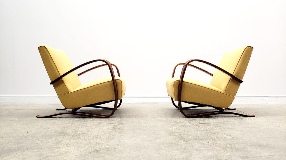 Jindrich Halabala H-269 Bentwood Armchairs in Yellow, Thonet, 1930