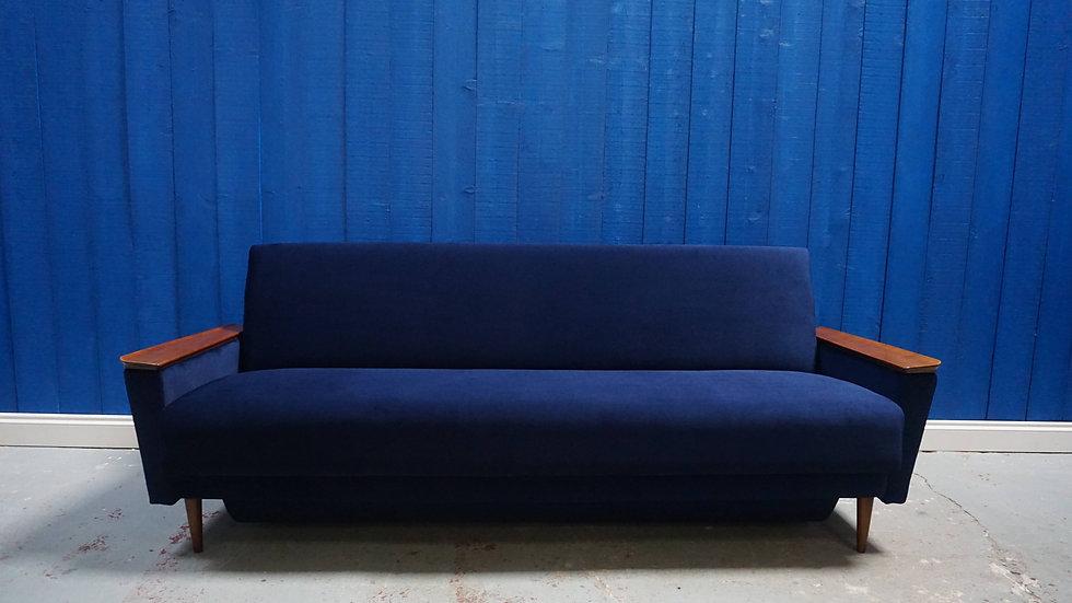 Mid Century Danish Three Seater Sofa / Bed in Navy Blue Velvet, 1960's