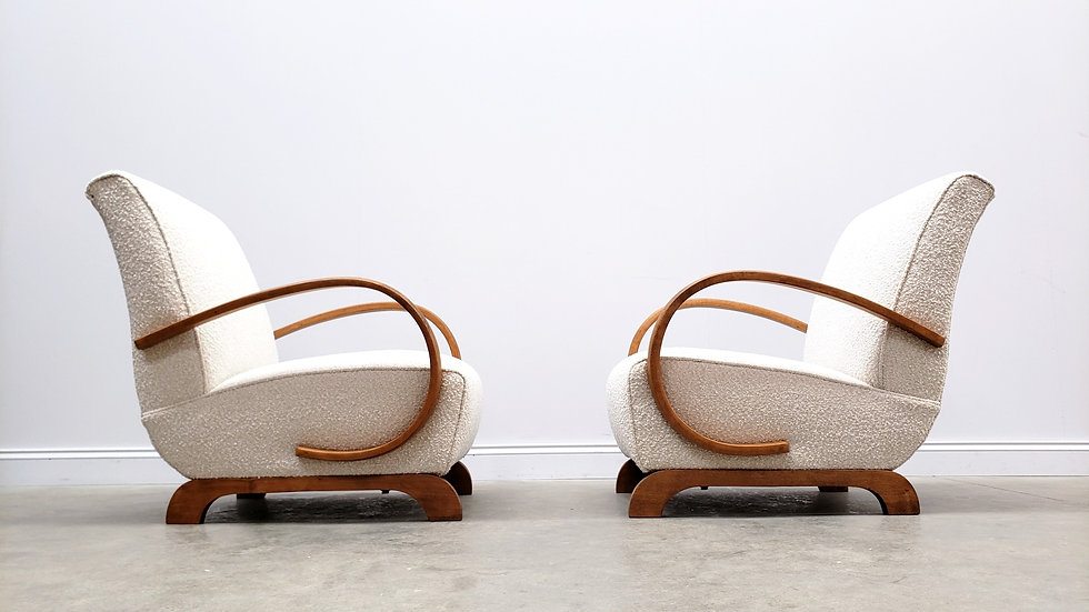 1930 Jindrich Halabala Bentwood Armchair in White Boucle