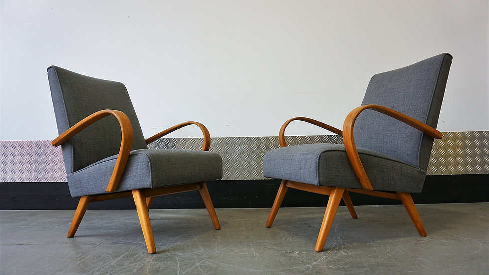 Bentwood Lounge Chairs from TON, 1960s Czech Mid Century Vintage