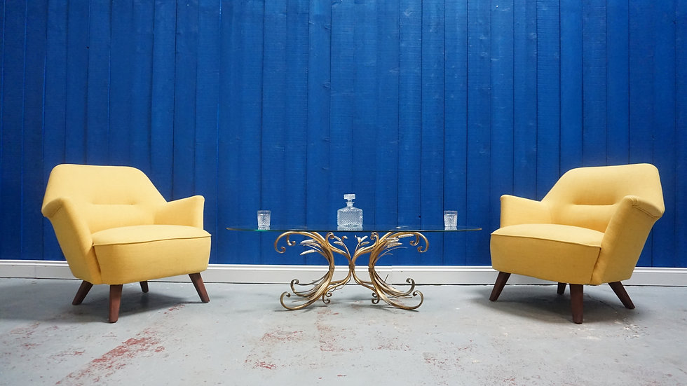 1960's Mid Century Lounge Chairs in Yellow, Set of 2 Shell Chair