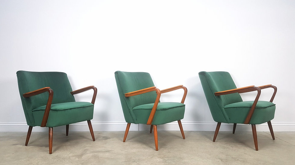Mid Century Cocktail, Club Chairs, in Green Velvet, 1960, 1 of 3