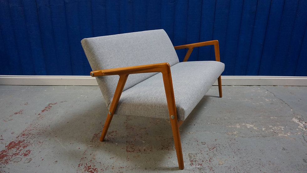 Mid Century Danish Loveseat Sofa from the 60's, in Grey Tweed