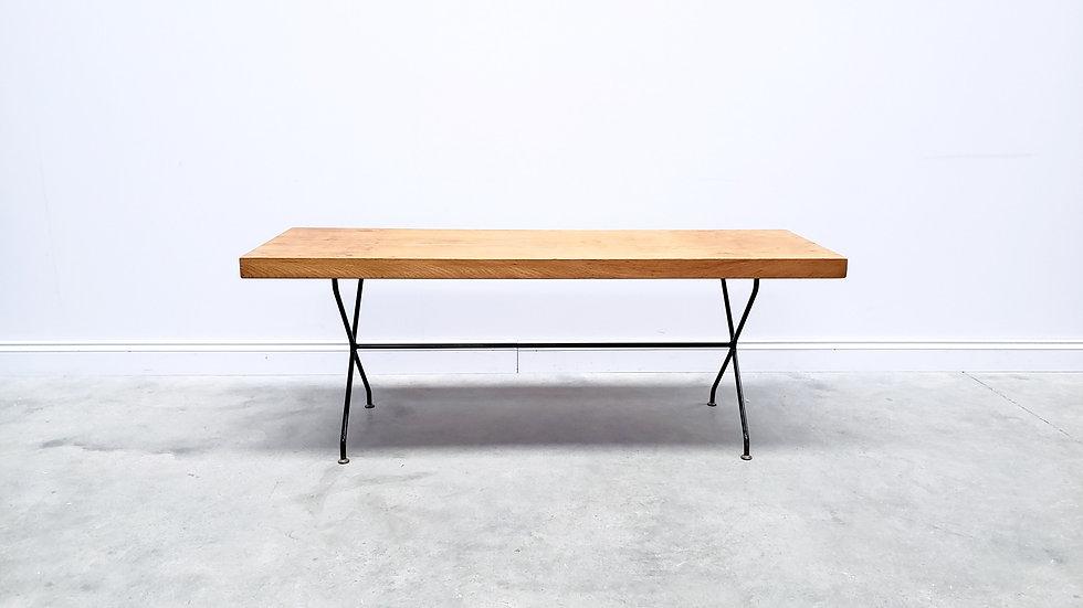 Vintage Coffee Table, Wooden Top, Black Enamel Legs