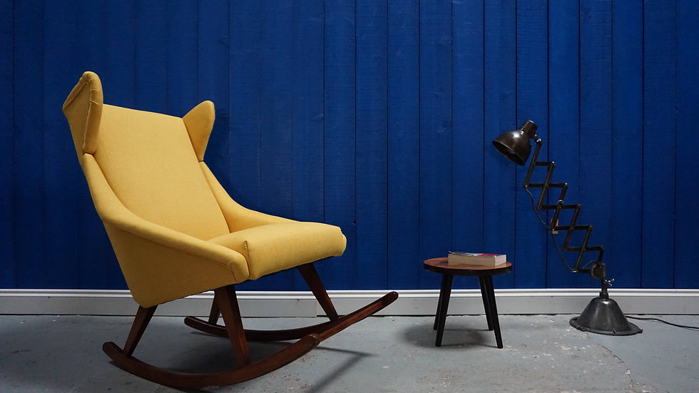 Mid Century Danish Rocking Chair in Yellow, 1960's