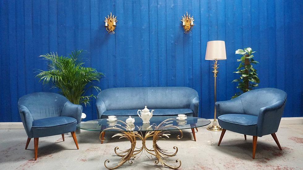 Mid Century Living Room Set, Sofa + Armchairs in Blue Velvet, France 1960's