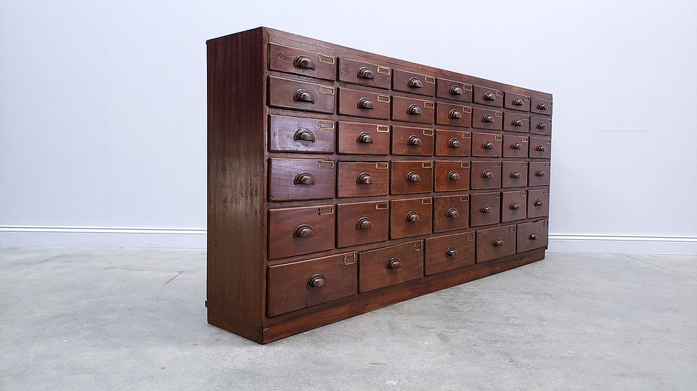 Antique English Bank of Drawers, Apothecary Cabinet,