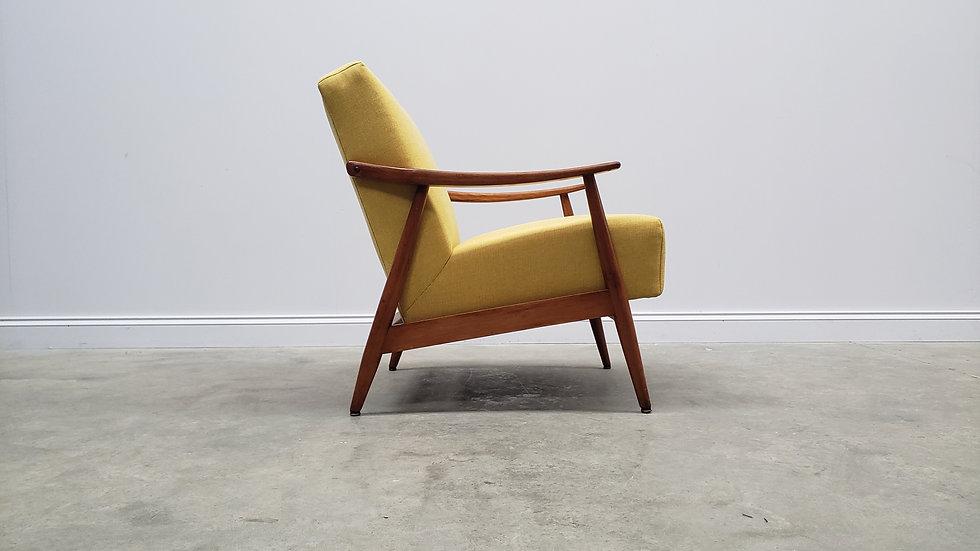 1960's Danish Lounger Club Chair in Yellow