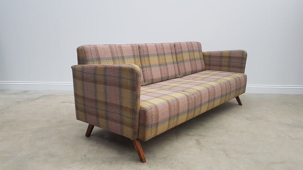 Mid Century 3 Seat Danish Sofa in Multicolored Chequered Wool, 1960's