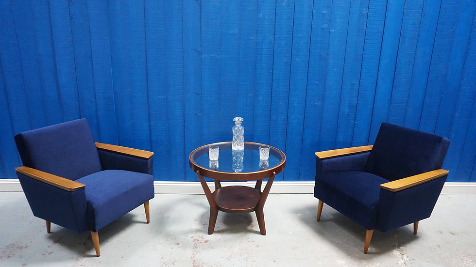 Mid Century Danish Loungers Club Chairs in Navy Blue Velvet, Set of 2