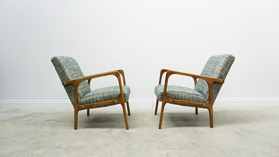 Mid Century Armchairs in Vintage Style Upholstery, 1 of 2