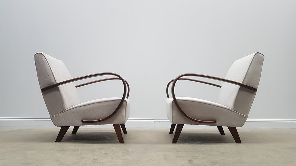 1930 Jindrich Halabala Bentwood Armchairs in Light Grey