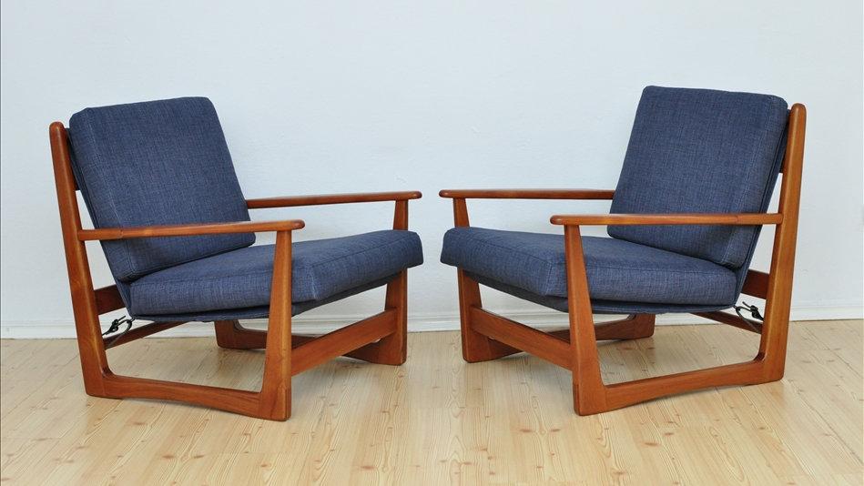 Mid Century Danish Teak Wood Armchairs 1960's, set of 2